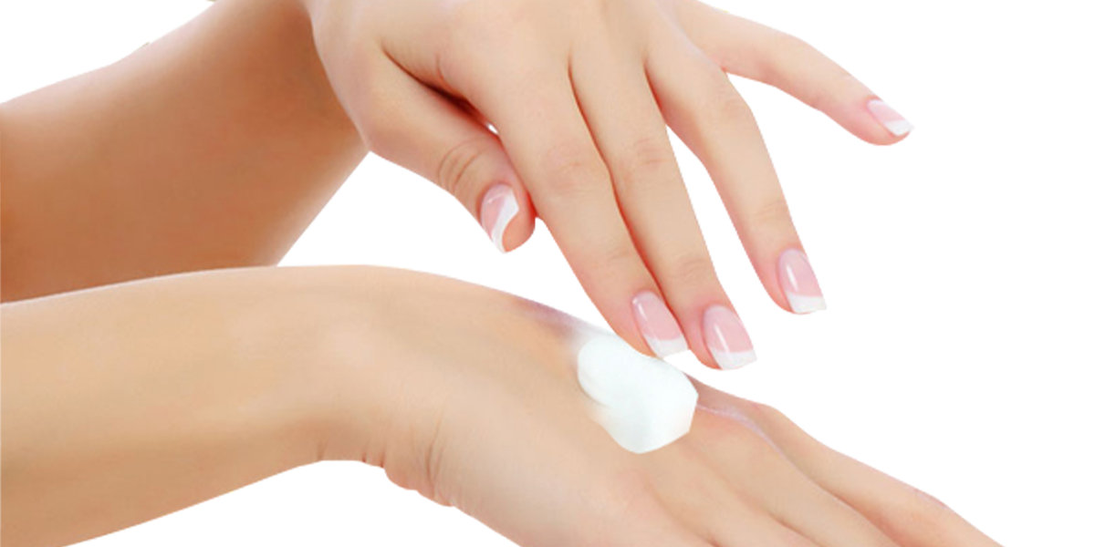 Woman's hands applying Jojoba Body Lotion