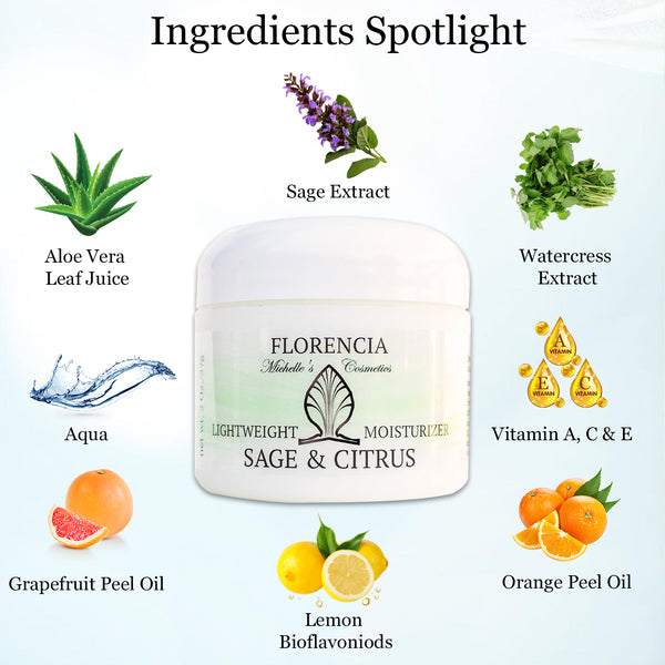 Florencia Sage & Citrus Lightweight Moisturizer - Oil Free Facial Moisturizer Lotion – Lightweight Hydrating Cream for Sensitive, Oily, Normal, Combination Skin – Natural Ingredients