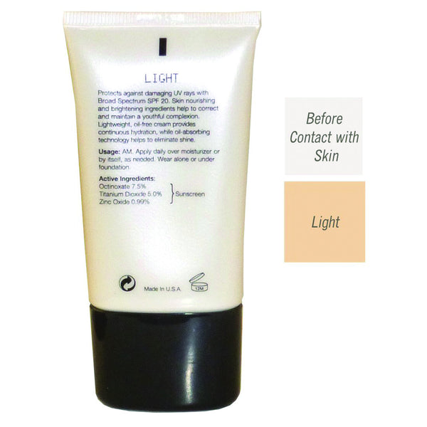 Back of the Bottle of CC Cream Brightening SPF 20 with before contact with skin color and a light color difference.