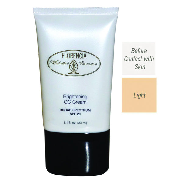 Front of the Bottle of CC Cream Brightening SPF 20 with before contact with skin color and a light color difference.