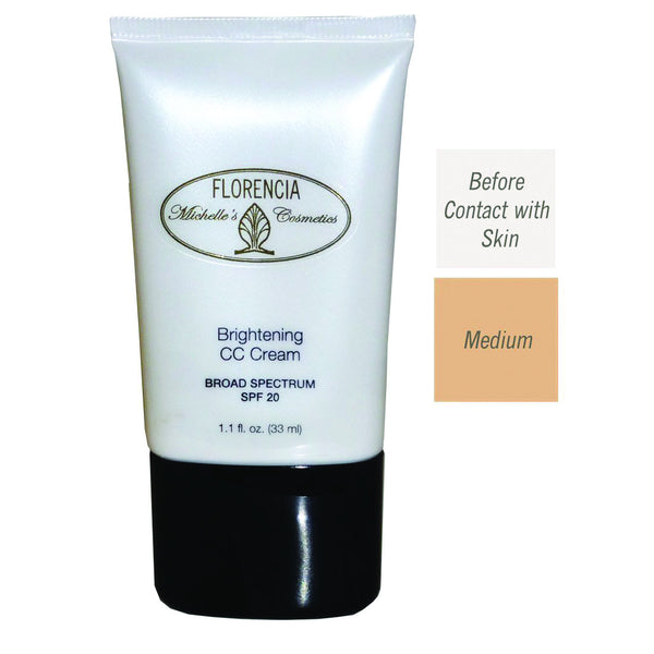 Front of the Bottle of CC Cream Brightening SPF 20 with before contact with skin color and a medium color difference.