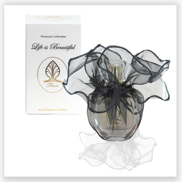 Fleuri Perfume bottle wrapped up in a transparent black gift bag in front a perfume box.