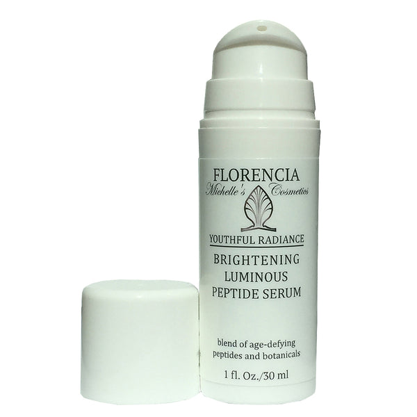 A bottle of Brightening Luminous Peptide Serum - Youthful Radiance with the lid off.