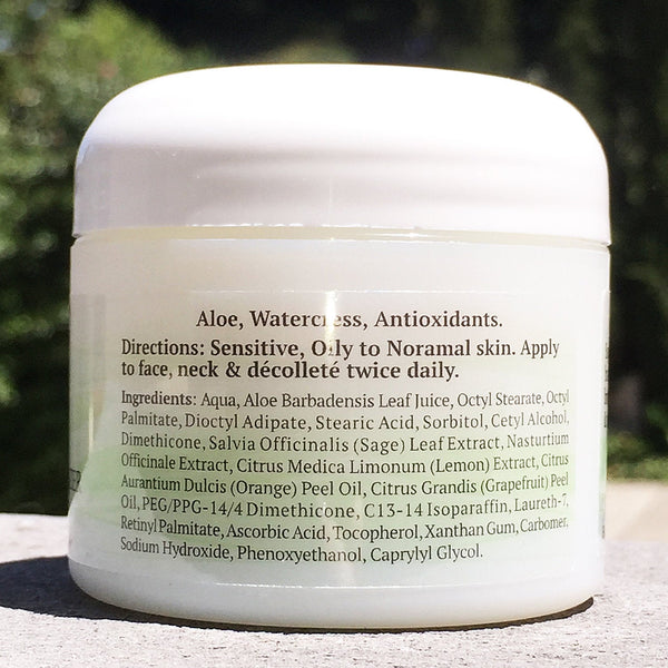 The back of a Lightweight Sage & Citrus Moisturizer jar.
