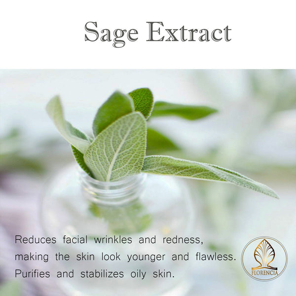 Sage extract benefits that reduces facial wrinkles and redness, making the skin look younger and flawless.