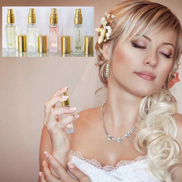 Five bottles of perfume. A woman spritzing perfume on her neck.
