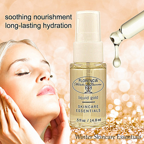 Liquid Gold Nourishing Moisturizing Serum bottle. Woman with her eyes closed and hands on cheeks.