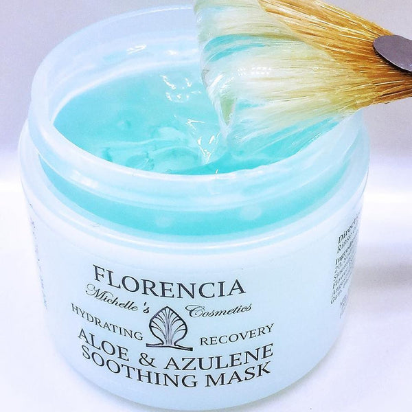 Aloe & Azulene Soothing Gel Mask bottle with a brush dipped inside.
