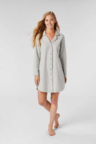 Coyuchi Women's Cloud Brushed Flannel Sleepshirt, 2 Colors