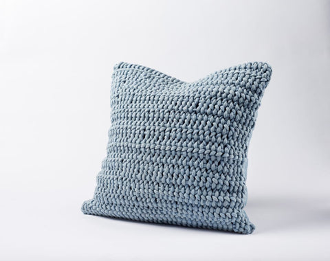 Coyuchi Woven Rope Pillow, Pale Ocean - The Green Life Company - 1