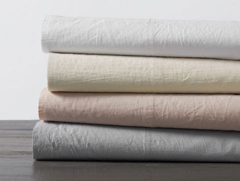 Coyuchi Crinkled Percale Organic Cotton Sheets, 4 colors