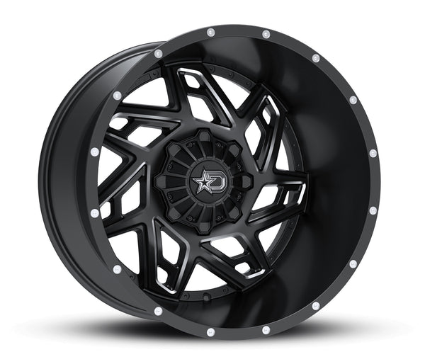 Dropstars 652BM 20X10 Satin Black with CNC Milled Accents and Chrome D-Star Cap Wheels 5X4.50 / 5X5.00 Bolt Pattern
