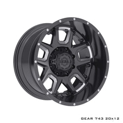 Gear Alloy 743BM Armor 20X12 Gloss Black with CNC Milled Accents Wheels 8X170 Bolt Pattern