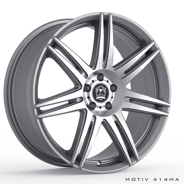 Motiv 414AB Modena 18X8 Anthracite with Brushed Face Wheels 5X4.50 Bolt Pattern
