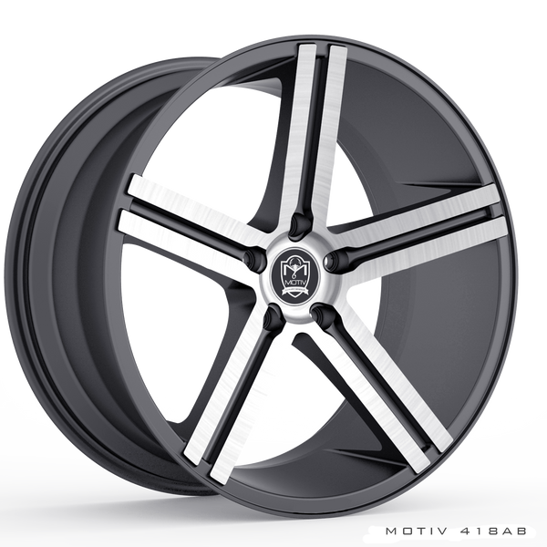 Motiv 418AB Melbourne 18X8 Anthracite with Brushed Face Wheels 5X120 Bolt Pattern