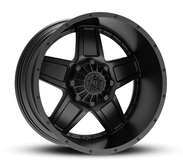TIS 543B 18X10 Satin Black with Gloss Black T-Star Logo Wheels 5X5.00 / 5X5.50 Bolt Pattern