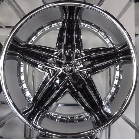 "4 Diablo Wheels Rage 22"" Custom Chrome & Black Rim and Tires Set"