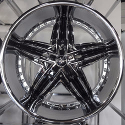 "Set of 4 Diablo Wheels Rage 22"" Custom Chrome & Black Rim"