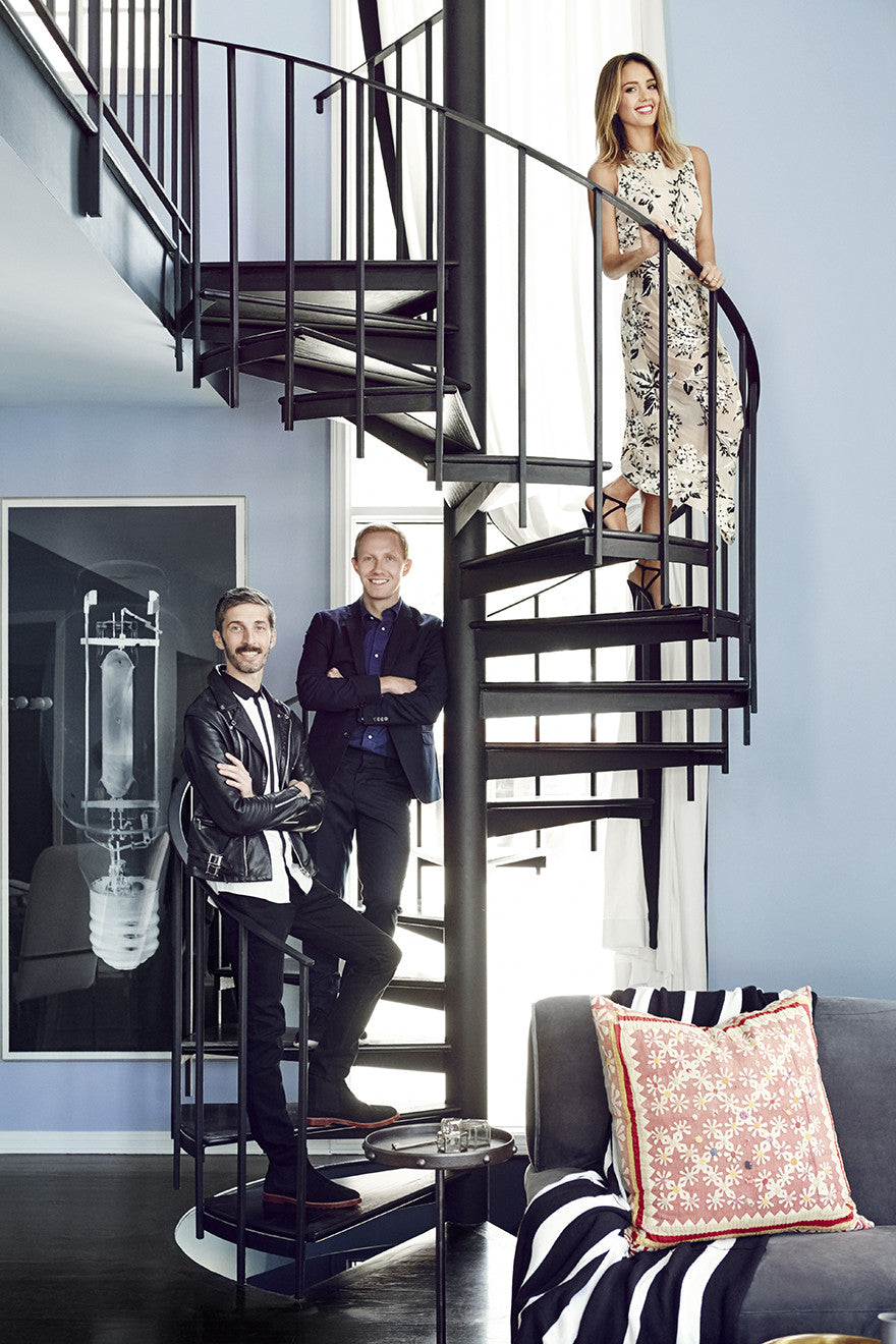 Spiral Staircase (L to R): Mat Sanders, Brandon Quattrone, and Jessica Alba.Interior Design by Consort. Photo: Christopher Patey