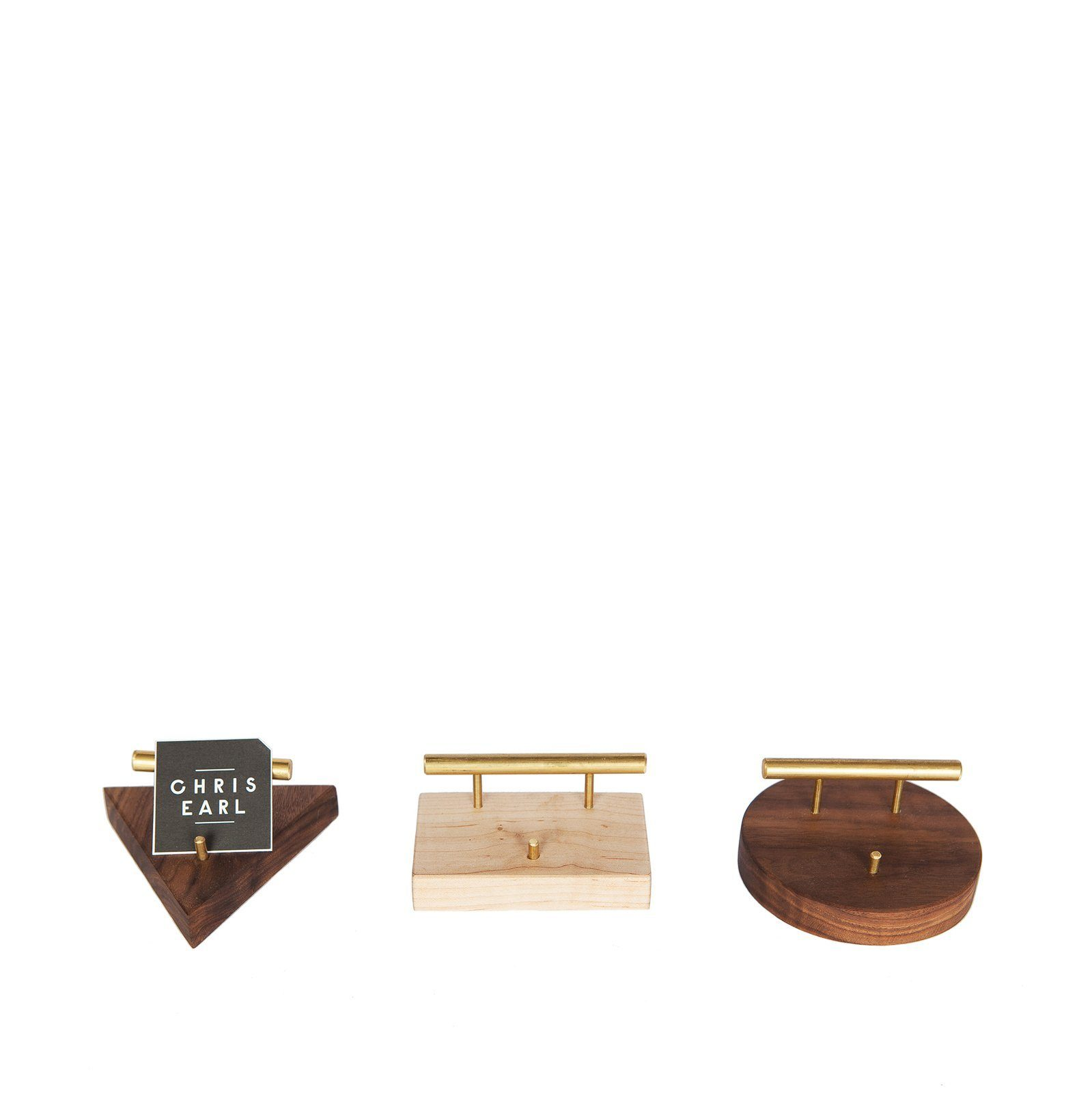 Wood and Brass Business Card Holder