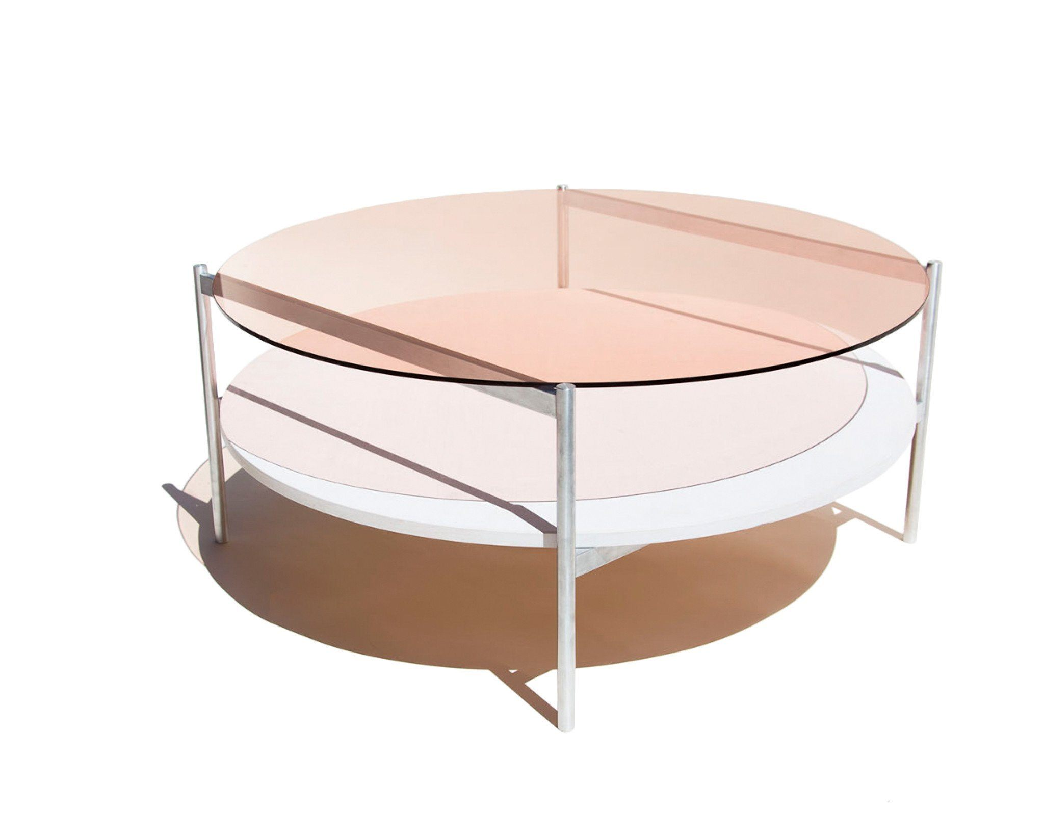 ... Tables U003e Coffee Table Round   Duotone Circular Coffee Table In Aluminum  ...