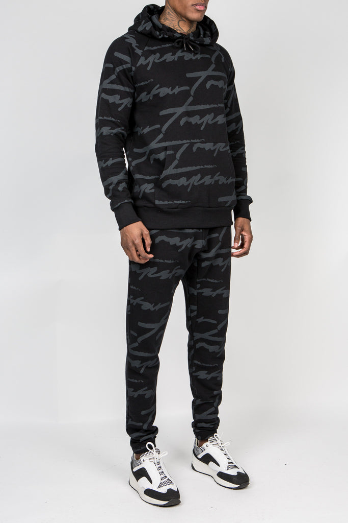 Mens Allover Signature Tracksuit - black/black