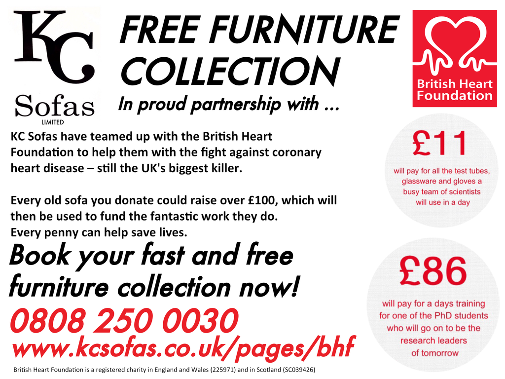 Free Furniture Collection - Sheffield | Lincoln | Castleford - British Heart Foundation