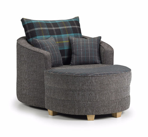 Chilli Swivel Chair & Moonstool Set Swivel Chairs- KC Sofas