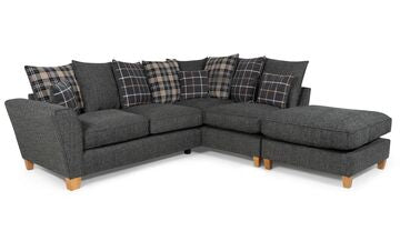 Lucy 1 Arm (Including Footstool) Right Hand Pillow Back Corner Sofa (Express) Corner Sofas- KC Sofas