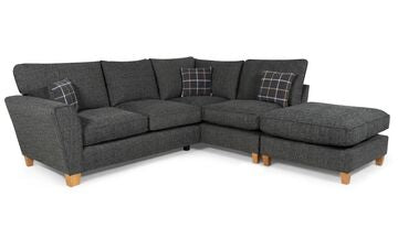 Lucy 1 Arm (Including Footstool) Right Hand Chaise Formal Back Corner Sofa (Express) Corner Sofas- KC Sofas