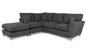 Lucy 1 Arm (Including Footstool) Left Hand Chaise Formal Back Corner Sofa (Express) Corner Sofas- KC Sofas