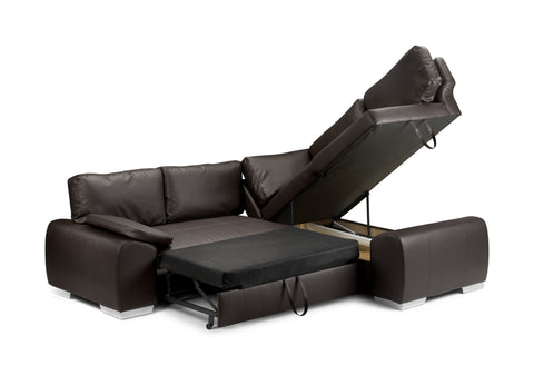 Enzo Right Hand Leather Corner Sofa Bed