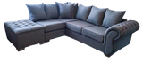 Rio Left Hand Pillow Back Chaise Corner Sofa (Including Buttoned Footstool)