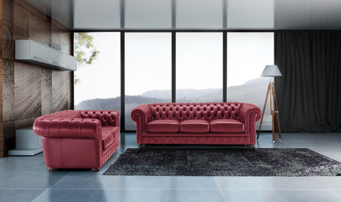 Chesterfield (Genuine Italian Leather) 3 Seater & 2 Seater Sofa Set Italian Leather Sofas- KC Sofas