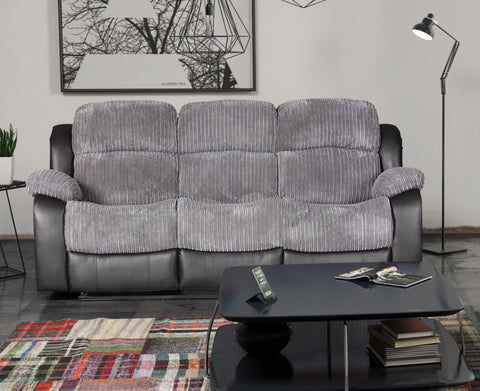 Valetta 3 Seater Manual Reclining Fabric Sofa