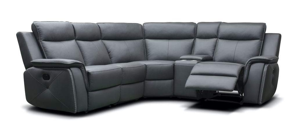 Infiniti 2C1/Right Hand Manual Reclining Corner Sofa With Console Corner Sofas- KC Sofas