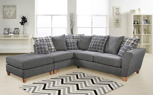Lucy 1 Arm (Including Footstool) Left Hand Chaise Pillow Back Corner Sofa Corner Sofas- KC Sofas