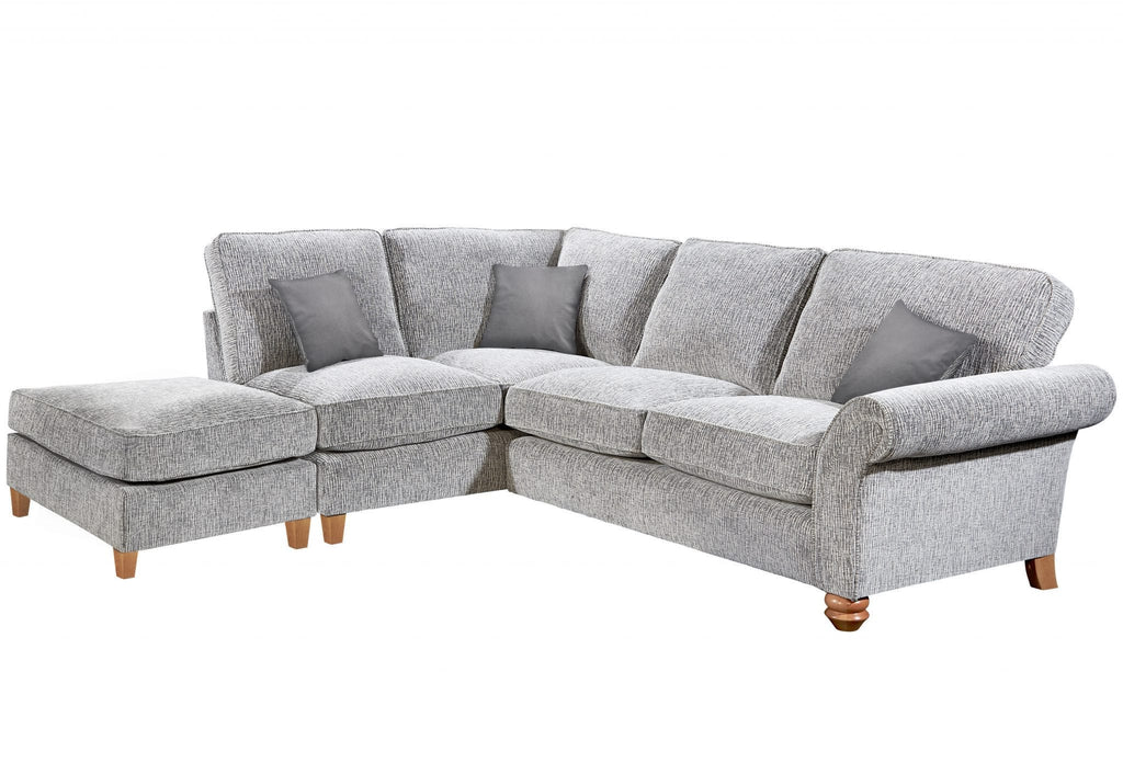Vegas Small 1 Arm Left Hand Formal Back Corner Sofa With Footstool – KC Sofas