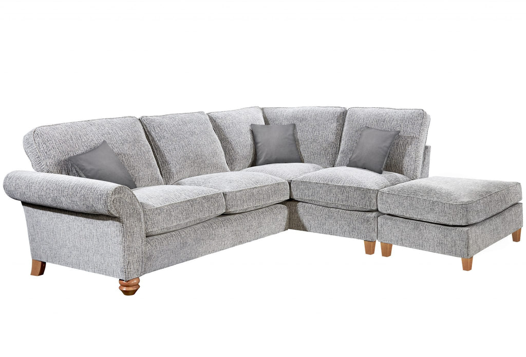 Vegas Small 1 Arm Right Hand Formal Back Corner Sofa With Footstool Corner Sofas- KC Sofas