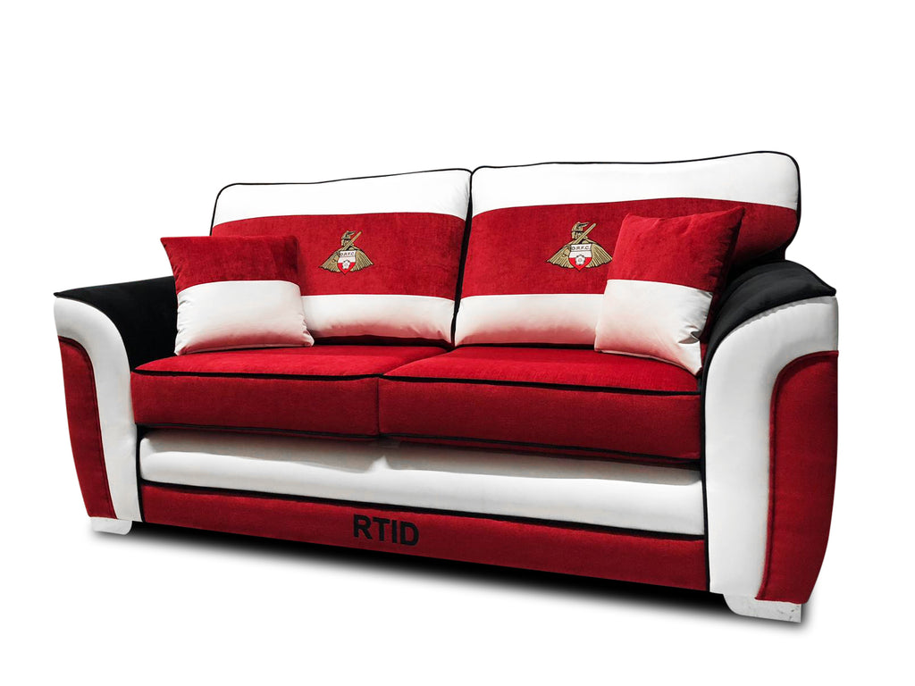 Doncaster Rovers Limited Edition 3 Seater Formal Back Sofa 3 Seater Sofas- KC Sofas