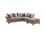 Vegas Small 1 Arm Right Hand Pillow Back Corner Sofa With Footstool Corner Sofas- KC Sofas