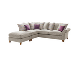 Vegas Large 1 Arm Left Hand Pillow Back Corner Sofa With Footstool Corner Sofas- KC Sofas