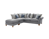Vegas Small 1 Arm Left Hand Pillow Back Corner Sofa With Footstool Corner Sofas- KC Sofas