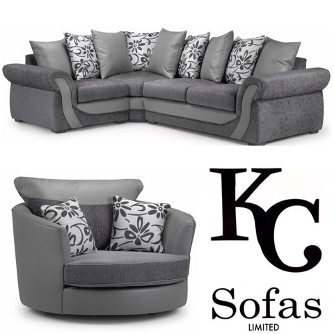 Swan Corner Sofa Large Swivel Chair Set KC Sofas