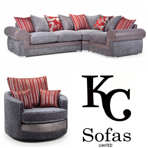 Savona Corner Sofa & Large Swivel Chair Set