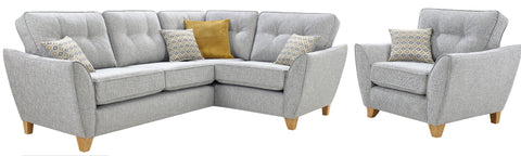 Ariana Right Hand Formal Back Corner Sofa & Chair Set Corner Sofas- KC Sofas