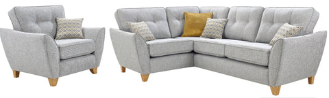 Ariana Left Hand Formal Back Corner Sofa & Chair Set Corner Sofas- KC Sofas