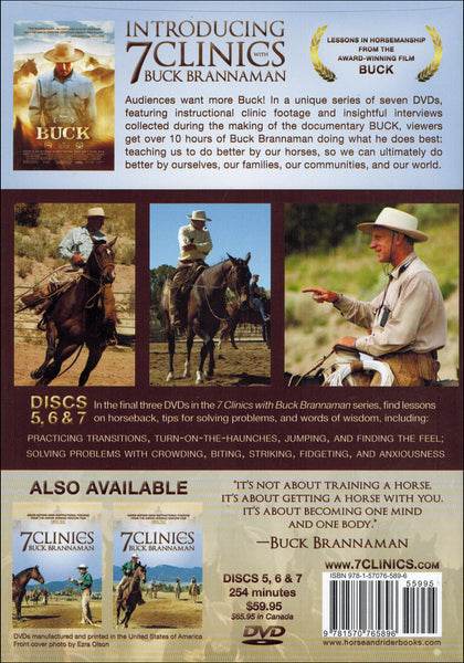 "Buck Brannaman 7 Clinics Complete Set Vols 1-7 + Movie ""Buck"" - BooksOnHorses"
