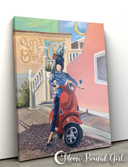 Red Scooter - Moon Bound Girl Canvas Print