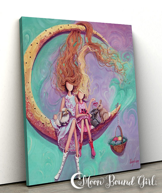 Easter - Moon Bound Girl Canvas Print